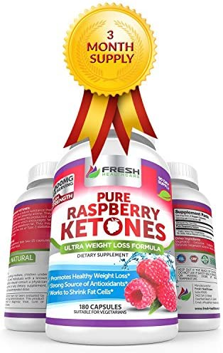 Pure 100% Raspberry Ketones Max 1000mg Per Serving - 3 Month Supply - Powerful Weight Loss Supplement - Provides Energy Boost for Weight Loss - 180 Capsules by Fresh Healthcare 2