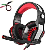 Beexcellent Gaming Headset for PS4, Xbox One, Nintendo Switch, PC, Mac, Laptop, Over Ear Headphones PS4 Headset Xbox One Headset with Surround Sound, LED Light & Noise Canceling Microphone