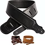 So There Padded Leather Guitar Strap - Genuine Leather Strap Best for Guitar or Bass - Black