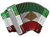 D'Luca Toro Button Accordion 31 12 Bass on GCF Key with Case and Straps, Red, White, Green (D3112T-GCF-MX)