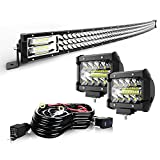 TURBO SII 50' LED Light Bar Curved Triple Row 684W Flood Spot Combo Beam Led Bar W/ 2Pcs 4in Off Road Driving Fog Lights with Wiring Harness-3 Leads for Jeep Trucks Polaris ATV Boats Lighting