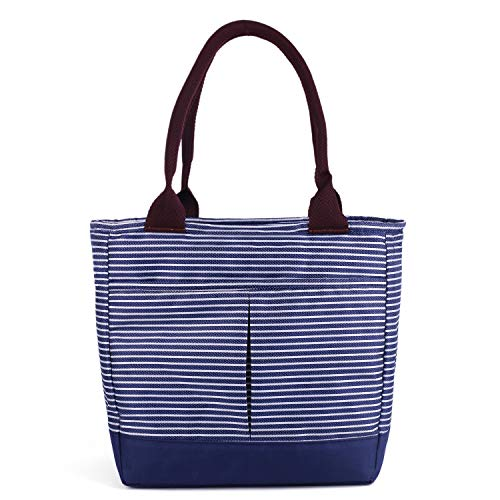 Insulated Lunch Bags for Women Girls Soft Cooler Tote Bags Bagbang Reusable Cute Lunch Box for Adult Waterproof Snack Bags Hand Bag Blue&White stripe