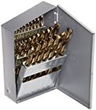 """Chicago Latrobe 550 Series Cobalt Steel Jobber Length Drill Bit Set with Metal Case, Gold Oxide Finish, 135 Degree Split Point, Inch, 29-piece, 1/16"""" - 1/2"""" in 1/64"""" increments"""