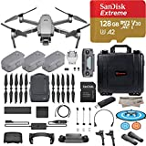 DJI Mavic 2 Pro Drone Quadcopter, Fly More Combo Kit, Hasselblad Camera HDR Video, with 3 Batteries, 128GB Micro SD, Landing Gear and Pad, Prop Holder, Stick Protector, Extra Hard Carrying Case