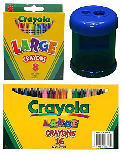 Crayola Large Crayons, 8 Count and 16 Count (Big Variety of Colors) | Crayon and Pencil Sharpener