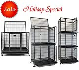 Homey Pet 37' Heavy Duty Metal Open Top Cage w/Floor Grid, Casters and Tray