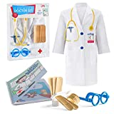 Litti City Doctor Kit for Kids - Complete Doctor/ Vet Accessories with White Doctor Coat, Stethoscope & Medical Kit - Doc Coat Costume & Tools - Pretend Play for Boys & Girls