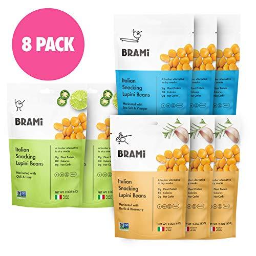 BRAMI Lupini Beans Snack, Variety Pack   9g Plant Protein, 0g Net Carbs   2.3 oz (8 Pack)   Vegan, Vegetarian, Keto, Mediterranean Diet