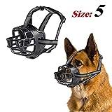 JEMOTEK Dog Muzzle, Basket Dog Muzzles for Dogs Stop Bting and Barking, Adjustable Soft Silicone Dog Mouth Cover with Reflective Strip for Small Medium Large Dog - Black (5 - Labrador)