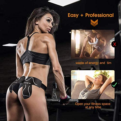 MOICO Butt Hip Trainer, 2020 Upgrade Muscle Toner Fitness Training Gear with 10 Pcs Free Gel Pads, Home Office Exercise Equipment, Ab Trainer Workout Equipment Electric Machine for Women Men Mom 6