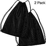 2 Pack Mesh Drawstring Backpack Bag Mesh Equipment Bag Black String Bag Multi Functional Bag with Drawstring Shoulder Straps for Sport, Gym, Training, Swimming, Beach, Diving, Travel