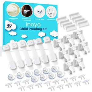 Complete Baby Proofing Kit – Child Safety Hidden Locks for Cabinets & Drawers, Adjustable Safety Latches, Corner Guards and Outlet Covers – Baby Proof Pack to Keep Your Child Safe at Home