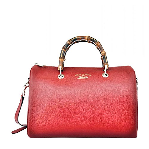 51XXd9 QpoL Gucci Bamboo Shopper Leather Satchel Shoulder Tote Bag 353124 - Red Authentic Gucci Bamboo Shopper, made in Italy. Includes authenticity cards, controllato cards, and Gucci dust-bag. Fine light gold hardware, zip top closure, Gucci boston handbag style