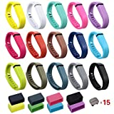 i-smile Replacement Bands with Metal Clasps for Fitbit Flex / Wireless Activity Bracelet Sport Wristband (No tracker, Replacement Bands Only) - 2PCS Silicon Fastener Ring For Free (Set of 15, Small)