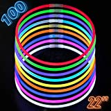 Glow Sticks Bulk Party Supplies - 100 Light Stick Necklaces - Extra Bright Glow In The Dark Party Favors - 22' Inch Necklace Strong 6mm Thick - 9 Vibrant Neon Colors - Stuffers for Kids - Mix
