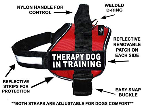 Therapy Dog in Training Nylon Dog Vest Harness. Purchase Comes with 2 Reflective Therapy Dog in Training pathces. Please Measure Your Dog Before Ordering (Girth 19-25', Red)