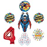 Superman 4th Birthday Party Supplies and Balloon Decorations