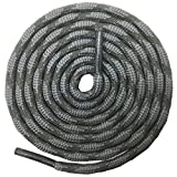 DELELE 2 Pair Round Wave Shape Non Slip Heavy Duty and Durable Outdoor Climbing Shoelaces Dark Gray&Dark Green Hiking Shoe Laces Shoestrings-39'