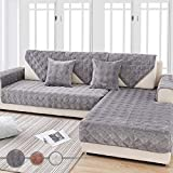 OstepDecor Quilted Furniture Protector for Sofa, Loveseat, Recliner, Chair | Couch Slipcover for Pets & Kids | ONE Piece | Backing and Armrest Sold Separately | Dark Grey 43' x 63' (110 x 160cm)