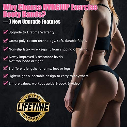 NVRGIUP Exercise Resistance Bands for Legs and Butt, Upgrade Thicken Anti-Slip & Roll Home Gym Workout Booty Bands, Wide Fabric Loop Thigh Glute Bands Set for Women with Ebook & Video 6