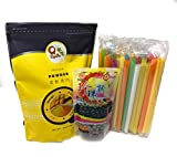 Qbubble Tea Mango Powder 2.2 Pound With 50pcs Bubble (Large) Straw and WuFuYuan - Tapioca Pearl (Black) - Net Wt. 8.8 Oz