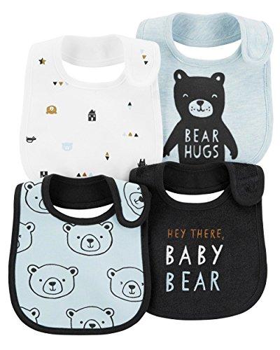 Carter's Baby Boys' 4-Pack Teething Bibs (Blue/Bear)