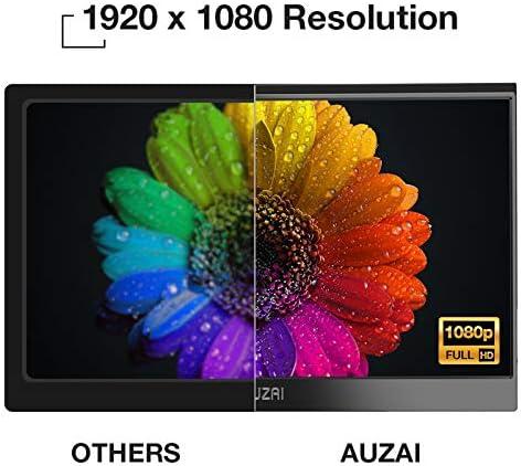 "Portable Monitor - AUZAI 15.6"" Ultra Slim Portable Computer Monitor, FHD IPS Panel & USB-C HDMI, 100% sRGB HDR Monitor, Eye Saver & Flicker Free for Desktop Laptop PC Smartphone Xbox PS4 14"
