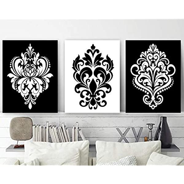 Amazon Com Black White Wall Decor Damask Decor Black White Bedroom Wall Art Canvas Or Print Black White Bathroom Decor Home Decor Set Of 3 Artwork Posters Prints