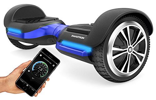 Swagtron App-Enabled T580 Bluetooth Hoverboard w/Speaker Smart Self-Balancing Wheel – Available on iPhone & Android (Blue)