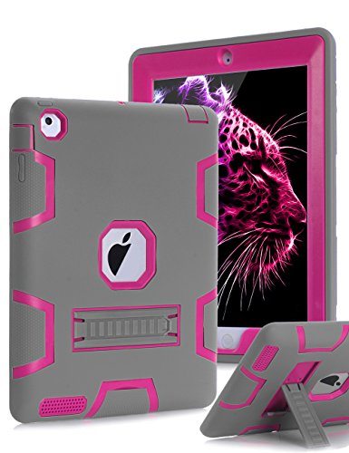 TOPSKY iPad 2 Case,iPad 3 Case,iPad 4 Case,iPad 2/3/4 Kids Proof Case,Heavy Duty Shockproof Rugged Kickstand Protective Cover Case for iPad 2nd/3rd/4th Generation Retina(A1416/A1458) Grey Pink