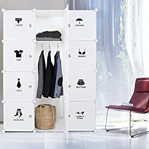 WOLTU Portable Clothes Closet Wardrobe With 2 Drawer Clothes