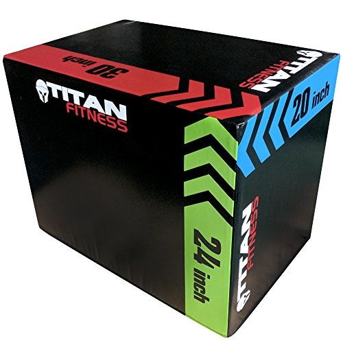 TITAN FITNESS 3-in-1 Portable Foam Plyometric Box, Jumping Exercise Equipment