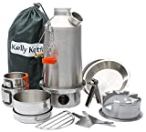 Kelly Kettle Camp Stove Ultimate Stainless Steel Base Camp Kit - Holds 54 oz of Water - Boils Water Within Minutes, Uses Natural Fuel, and Enables You to Rehydrate Food or Cook a Meal