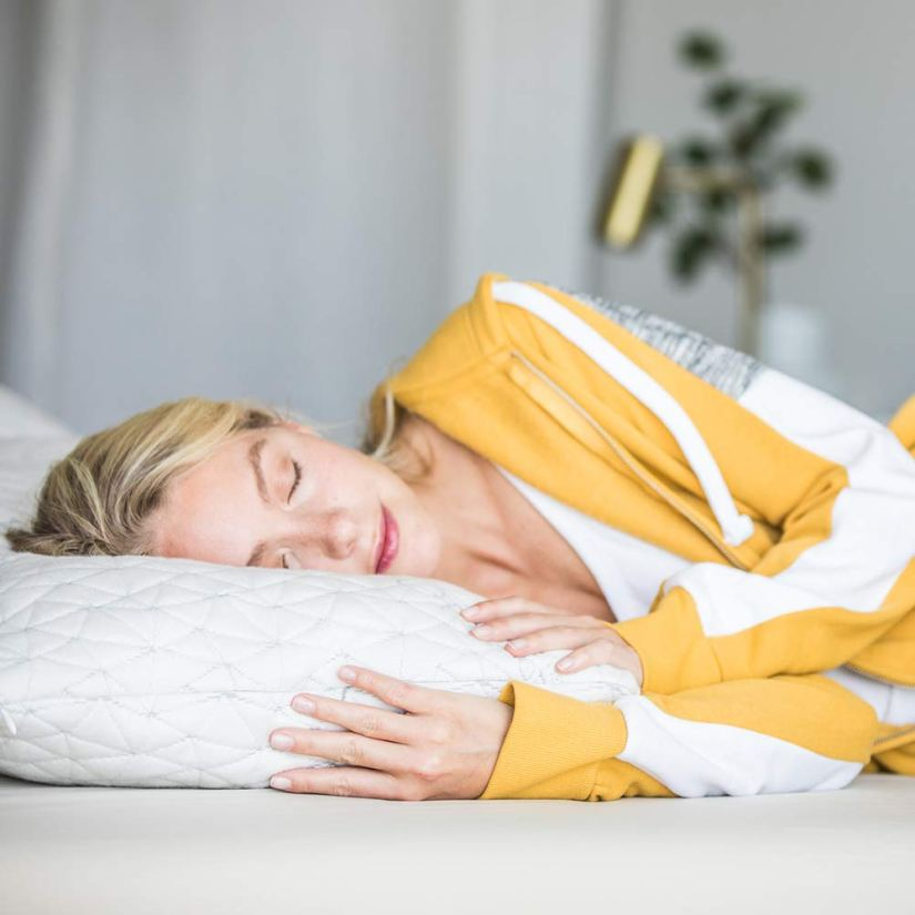 What is a correct sleeping posture to help with headache: