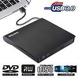 External DVD Drive for Laptop - USB 3.0 Portable Slim Burner Suitable for Compact Disc CD-R/DVD+R/DVD-R/DVD+R DL and Rewritable Disc CD-RW/DVD-RW/DVD+RW(Black) (DVD Drive)
