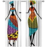 African Woman, Curtains Dining Room, Tribal Ladies in Traditional Costume Silhouettes Ethnicity Vintage Display, Curtains for Doors with Windows, W96 x L108 Inch, Multicolor