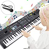 RenFox Electronic Keyboard Piano 61-Key Portable Keyboard Piano with Microphone&USB Cable Toy for Kids Boys Girls