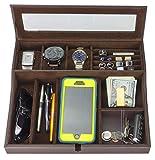 HOUNDSBAY Navigator Big Dresser Valet Tray for Men with Watch Box Jewelry Organizer & Smartphone Charging Station (Dark Brown)