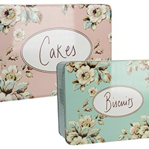 "Katie Alice ""Cottage Flower"" 2 Piece Metal Cake and Biscuit Rectangular Tins by Creative Tops 51XjaB2n6hL"