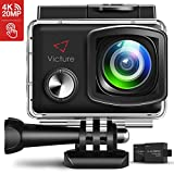 Victure 4K Action Camera 20MP WiFi 2 inch Touch Screen Camcorder EIS Waterproof 30M Underwater Sports Cam with Adjustable Wide Angle 2X1350mAh Rechargeable Battery and Mounting Accessories