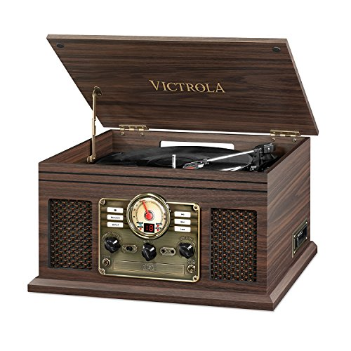 Victrola Nostalgic Classic Wood 6-in-1 Bluetooth Turntable Entertainment Center, Espresso
