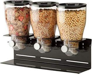 Zevro-Commercial-Plus-Dry-Food-Dispenser-Triple-Canister-Stainless-Steel-BlackChrome