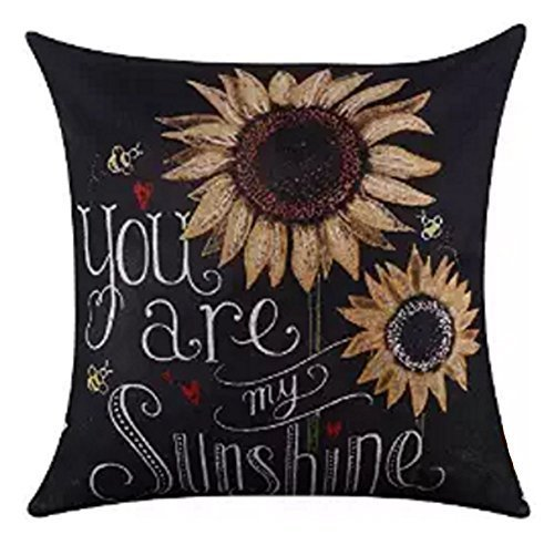 Blackboard Art sunflower You are My Sunshine Throw Pillow Case Cushion Cover Decorative Cotton Blend Linen Pillowcase for Sofa 18