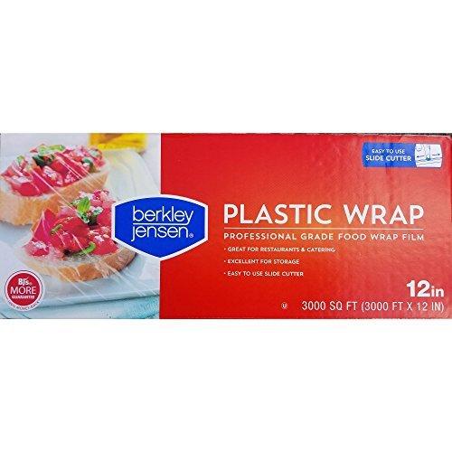 Berkley Jensen Professional Plastic Wrap with Cutter Slide 3000 Foot X 12 Inches Food Service Film