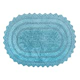 DII Ultra Soft Spa Cotton Crochet Oval Bath Mat or Rug Place in Front of Shower, Vanity, Bath Tub, Sink, and Toilet, 17 x 24' - Cameo Blue