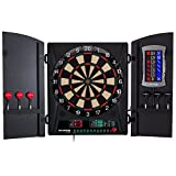 Bullshooter Cricket Maxx 1.0 Electronic Dartboard Cabinet Set with 13.5' Target Area, Wooden Cabinet Doors with Walnut Finish and 34 Games with 183 Variations (4 Cricket Games)