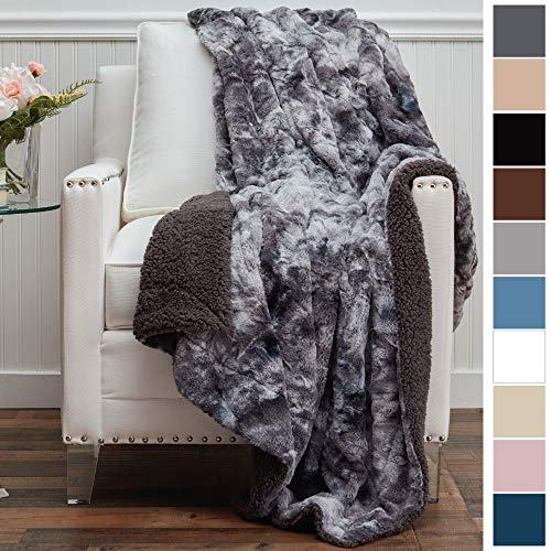 The Connecticut Home Company Luxury Faux Fur with Sherpa Reversible Throw Blanket, Super Soft, Large Wrinkle Resistant Blankets, Warm Hypoallergenic Washable Couch/Bed Throws, 65x50 (Gray Tie Dye)