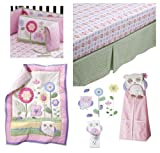 5 pc Circo Baby Girl Owls and Floral She's my Friend Collection- Includes: Owls and Floral 3 Pc Nursery set (comforter, sheet, dust ruffle), Floral Crib Bumper, Petit Fleur Diaper Stacker, Owl Night light, & Petit Fleur Owls and FloralCirco Wall Art Decals