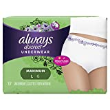 Always Discreet, Incontinence Underwear for Women, Maximum, Large, 17 Count