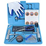 [71 Piece] Heavy Duty Tire Repair Kit w/ Gloves | Universal Tubeless Flat Tire Plug Kit for Puncture Repair | Ideal for Cars, Trucks, SUVs, ATVs, Motorcycles, Lawn Mowers, Tractors, Motorhomes